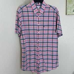 Brooks brothers pink plaid ss shirt medium euc